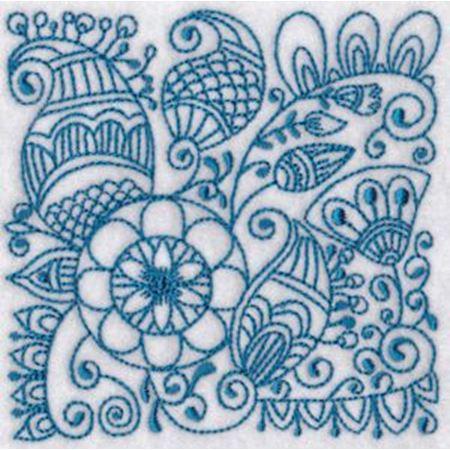 Ink Flower Redwork Blocks 6