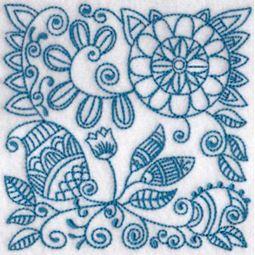 Ink Flower Redwork Blocks 7
