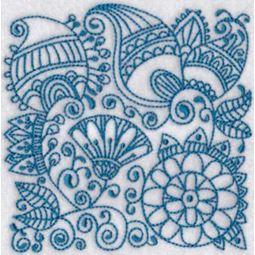 Ink Flower Redwork Blocks 8