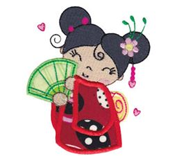 Kokeshi Dolls Applique 10