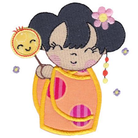 Kokeshi Dolls Applique 12