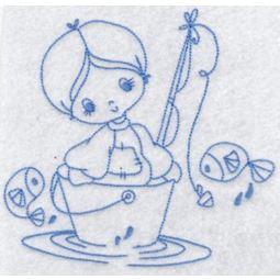 Little Fisherman Redwork 2