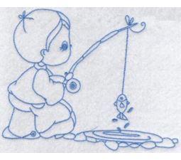 Little Fisherman Redwork 4
