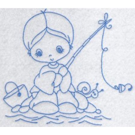 Little Fisherman Redwork 5