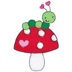 Filled Stitch Caterpillar and Mushroom