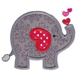 Applique Heart Elephant