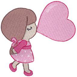 Girl Blowing Heart Bubble