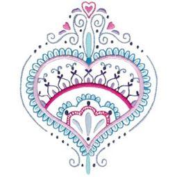 Mehndi Hearts 10 5x7 6x10