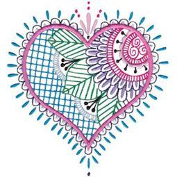 Mehndi Hearts 7 5x7 6x10