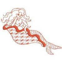 Mermaids Redwork