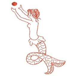 Mermaids Redwork 2