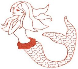 Mermaids Redwork 3