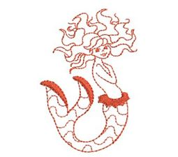 Mermaids Redwork 4