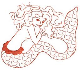 Mermaids Redwork 6