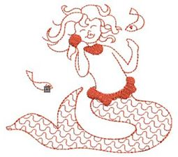 Mermaids Redwork 9