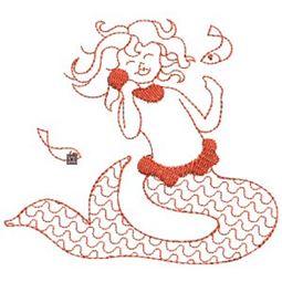 Mermaids Redwork 9