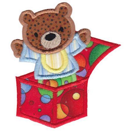 Bear In A Box Applique
