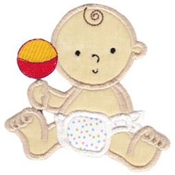 Baby And Rattle Applique