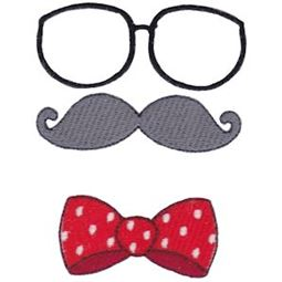 Filled Stitch Glasses Mustache Bow Tie
