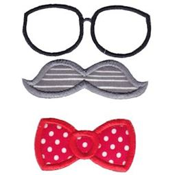 Applique Glasses Mustache Bow Tie