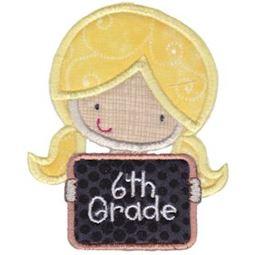 6th Grade Girl Applique