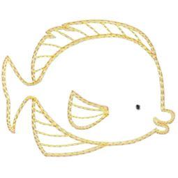 Flounder Fish Vintage Stitch