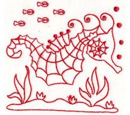 Seahorses Redwork 11