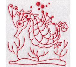 Seahorses Redwork 7