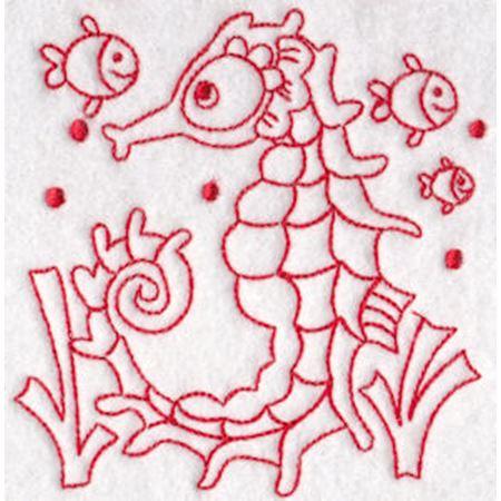 Seahorses Redwork 8