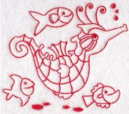 Seahorses Redwork 9