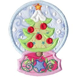 Applique Christmas Tree Snowglobe