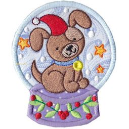 Applique Santa Hat Dog Snowglobe