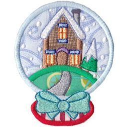 Applique Cottage Snowglobe