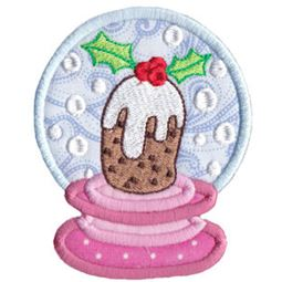Applique Christmas Cake Snowglobe