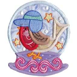 Applique Winter Bird Snowglobe