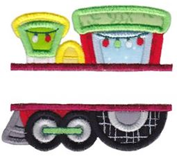 Split Christmas Train Applique