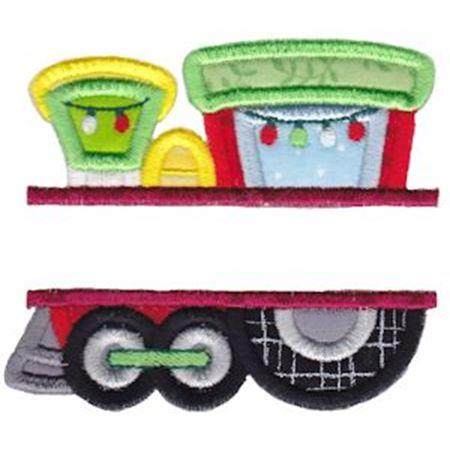 Split Christmas Train Applique