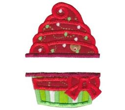 Split Christmas Cupcake Applique