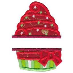 Split Christmas Cupcake Applique