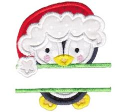 Split Christmas Penguin Applique