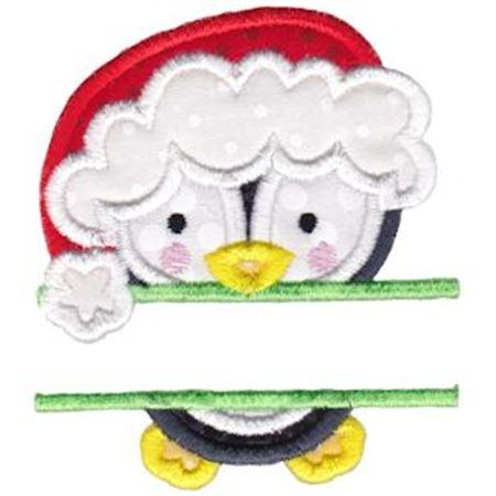 Split Christmas Penguin Applique
