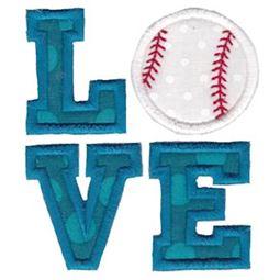 Love Baseball Applique
