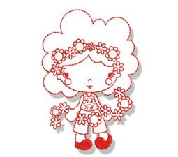 Spring Cuties Redwork 7