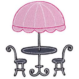 Filled Stitch French Table and Chairs