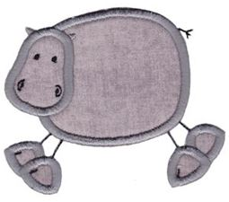 Hippo Stick Animal Applique