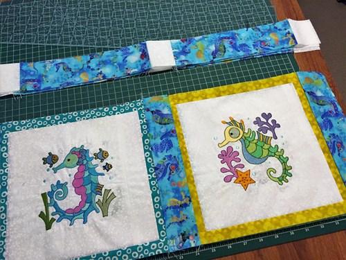 E Embroidered Squares and Sashing