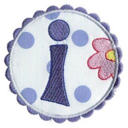 Button Applique Alphabet I
