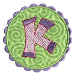 Button Applique Alphabet K
