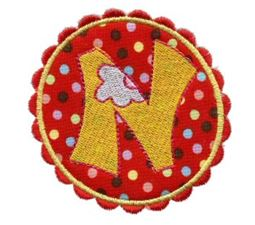Button Applique Alphabet N