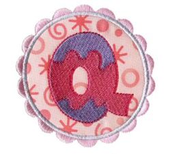 Button Applique Alphabet Q
